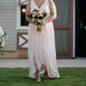 light pink/petal bridesmaid dress.